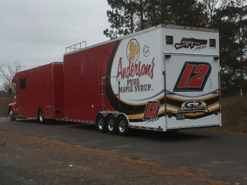 GR Motorsports / Andersons Maple Syrup / Jason Gross car hauler.
